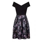 Fold-over Bardot Midi Dress