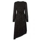 Glitter Sleeve Asymmetric Midi Dress