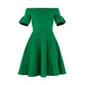 Criptum Bardot Frill Knitted Skater Dress
