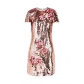 Marrta Embroidered Sequin Shift Dress