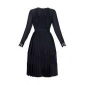 Looez Lace Trim Pleated Midi Dress