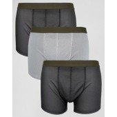 ASOS Trunks In Gray Mesh 3 Pack SAVE 20%