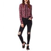 Miss Selfridge Lizzie Busted Knee Jeans, Black