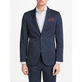 John Lewis Woven in Italy Cotton Cashmere Tailored Suit Jacket, Navy