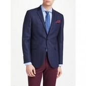 John Lewis Wool Check Tailored Blazer, Navy