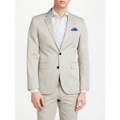 John Lewis Woven in Italy Cotton Cashmere Tailored Suit Jacket, Stone