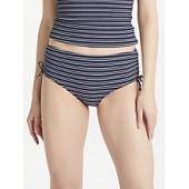 John Lewis Valencia Textured Stripe Ruched Bikini Shorts, Navy