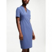 John Lewis Lily Pleat Fitted Dress, Blue, Blue