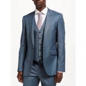 John Lewis Woven in Italy Super 130s Wool Sharkskin Suit Jacket, Steel Blue