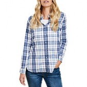 Barbour Selsey Check Shirt, White/Coastal Blue