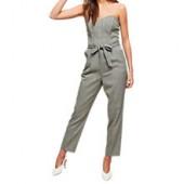 Miss Selfridge Check Bandeau Jumpsuit, Grey/Multi