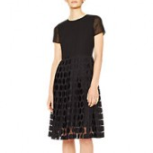 PS Paul Smith Polka Dot Devore Pleated Dress, Black