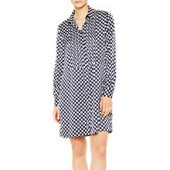 PS Paul Smith Polka Dot Pleat Front Shirt Dress, Navy