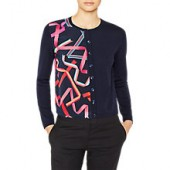 PS Paul Smith Ribbon Print Merino Wool Cardigan, Navy