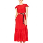 PS Paul Smith Midi Pleated Hem Silk Dress, Red