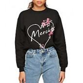 Miss Selfridge Petite Merci Slogan Sweatshirt, Black
