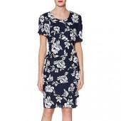 Gina Bacconi Esme Tiered Floral Print Dress, Navy, Navy