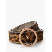 Boden Classic Leopard Pattern Leather Jeans Belt, Tan