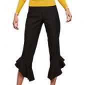 Miss Selfridge Angled Ruffle Trousers, Black