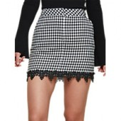 Miss Selfridge Dogtooth Lace Pelmet Skirt, Black