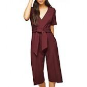 Miss Selfridge Petite Short Sleeve Jumpsuit, Burgundy