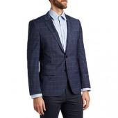HUGO by Hugo Boss Henry Windowpane Check Virgin Wool Slim Fit Suit Jacket, Medium Blue