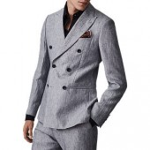 Reiss Miami Double Breasted Slim Fit Linen Suit Jacket, Soft Blue