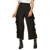 Miss Selfridge Cropped Ruffle Trousers, Black