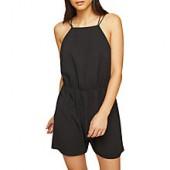 Miss Selfridge Lace Back Playsuit, Black