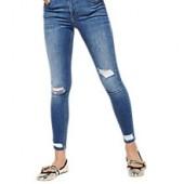 Miss Selfridge Busted Hem Lizzie Jeans, Mid Wash Denim