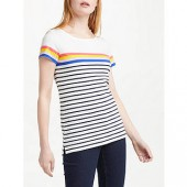 Boden Short Sleeve Breton T-Shirt, Ivory/Multi