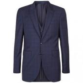 Jaeger Merino Wool Regular Highlight Glen Check Suit Jacket, Navy