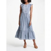 Boden Lucinda Broderie Dress, Chambray/Ivory Embroidery