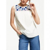 Boden Portia Embroidered Top, Ivory