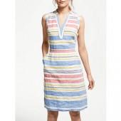 Boden Linen Notch Neck Dress, Mid Vintage/Stripe