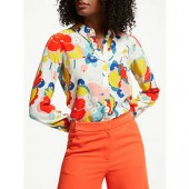 Boden The Silk Shirt, Ivory Blooming Bouquet