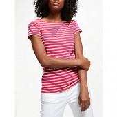 Boden Breton Short Sleeve T-Shirt, Carnival Pink/Ivory