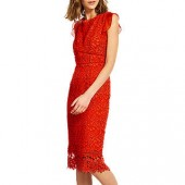 Mint Velvet Lace Shift Dress, Red, Red