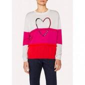 PS Paul Smith Fringe Heart Wool Jumper, Pink