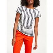 Boden Short Sleeve Breton Stripe Top, Ivory/Navy