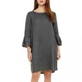 Phase Eight Jen Linen Frill Sleeve Dress, Grey