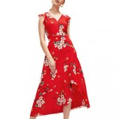 Warehouse Blossom Frill Dress, Red/Multi