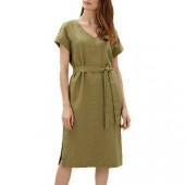 Jaeger Linen Tie Waist Midi Dress, Khaki