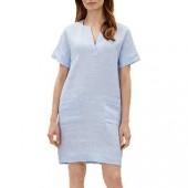 Jaeger Contrast Fine Stripe Linen Dress, Blue