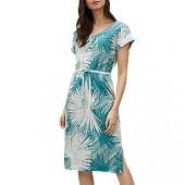 Jaeger Palm Print Side Split Linen Dress, Green