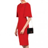 Jolie Moi Roll Collar Shift Dress, Red