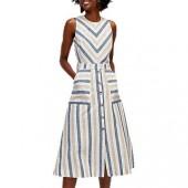 Warehouse Chevron Stripe Midi Dress, Multi