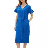 Jaeger Frill Cuff Tie Waist Linen Dress, Cobalt