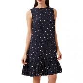 Hobbs Casey Ruffle Hem Polka Dot Dress, Navy/Ivory