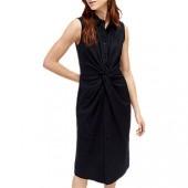 Warehouse Twist Shirt Dress, Black